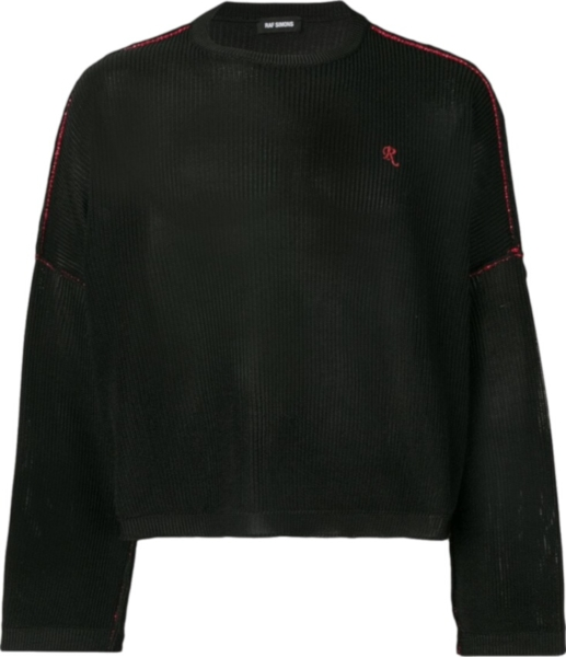 Raf Simons Contrast Stitch Black Ribbed Sweater