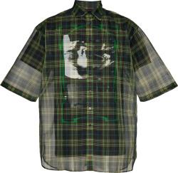 Raf Simons Green Tartan Sheer Layered Shirt