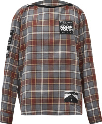 Raf Simons Grey Check Solar Youth Patch Flannel Shirt