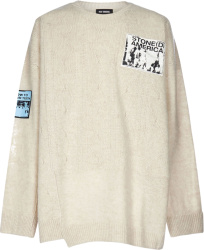 Raf Simons Ivory Patch Detail Sweater