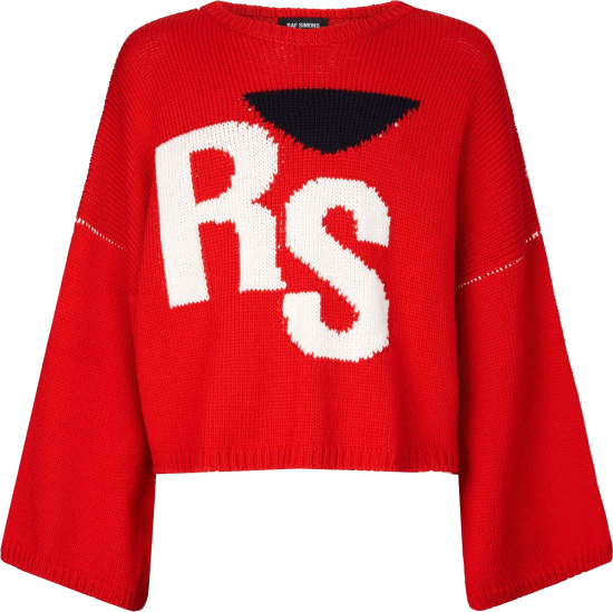 Raf Simons Red Rs Logo Cropped Oversized Sweater