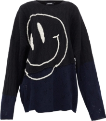 Smiley-Face Embroidered Distressed Sweater