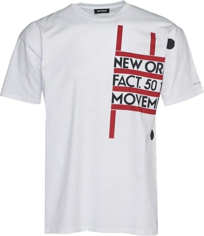 Raf Simons White New Order Print T Shirt