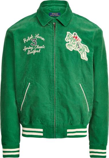 Ralph Lauren Green Corduroy Equine Club Bomber Jacket