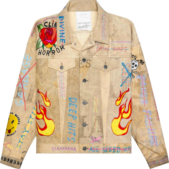 Readymade Allover Print And Embroidered Denim Jacket
