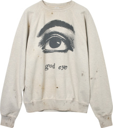 Readymade St Michael Grey God Eye Distressed Sweatshirt