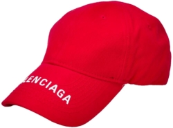 Red Balenciaga Hat With White Emboidered Logo On The Brim