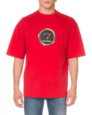 Red Balenciaga T Shirt With Printed Speedometer On The Front