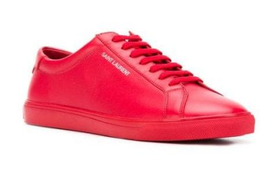 Red Leather Saint Laurent Sneakers With White Printed Logo Worn By Lil Pump