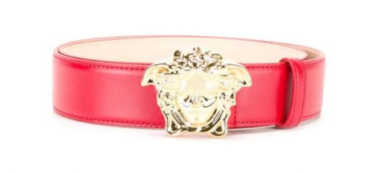 Versace Red Leather Medusa Head Belt Incorporated Style