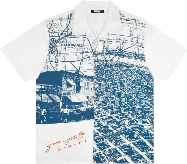 Renowned La White And Blue Views From Heaven Print Camper Shirt