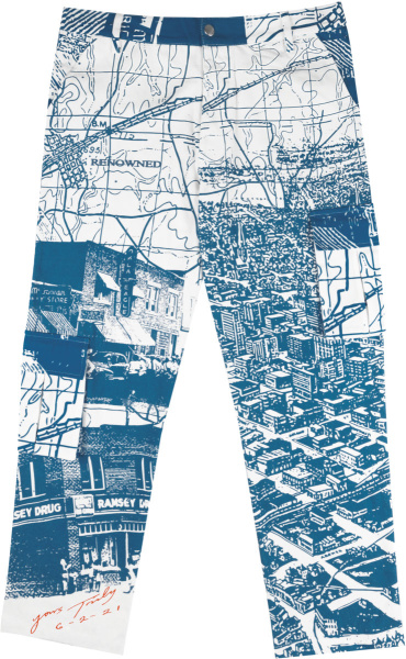 Renowned La White And Blue Views From Heaven Print Cargo Pants