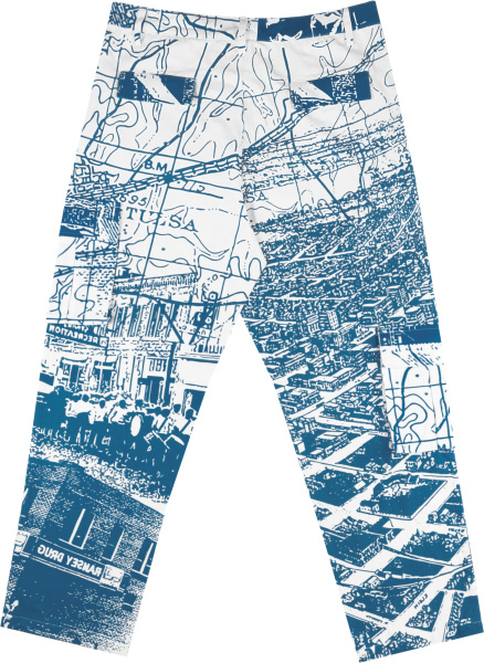 Renowned White And Blue Map And City Print Pants