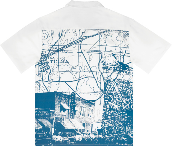 Renowned White And Blue Map And City Print Shirt