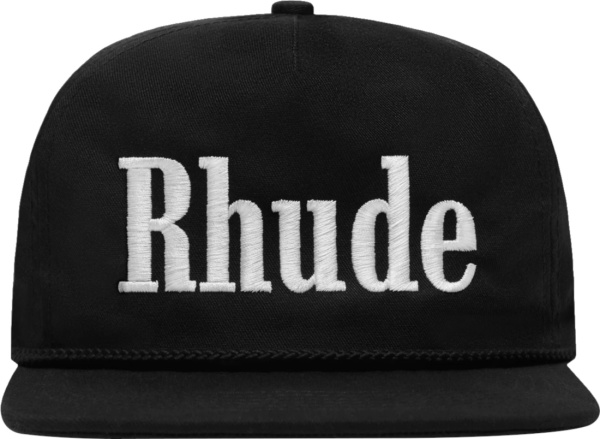 Rhude Black Logo Embroidered Hat
