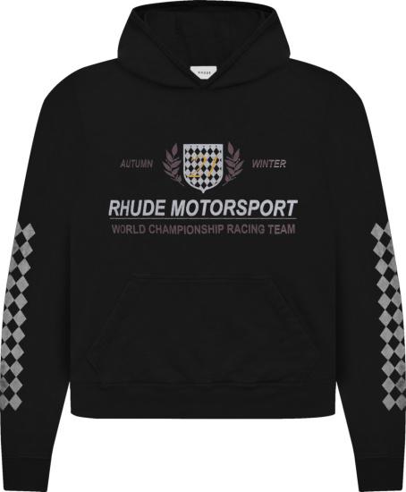 Rhude Black Motorsport Crest Logo Hoodie