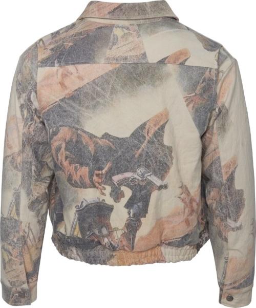 Rhude Faded Print White Cotton Jacket
