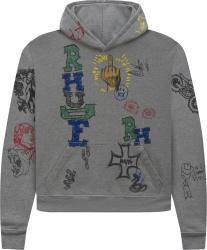 Rhude Grey Doodle Hoodie