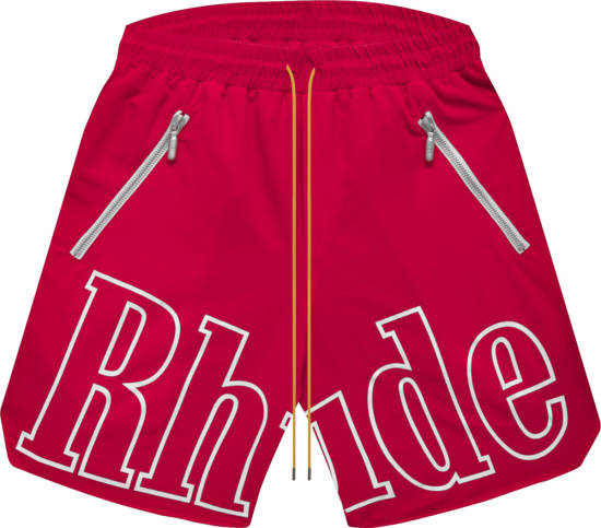 Rhude Red And White Front Logo Shorts