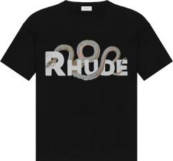 Snake & Logo Print Black T-Shirt