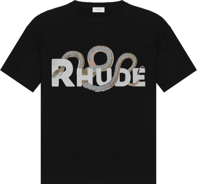 Rhude Snake And Logo Pirnt Black T Shirt