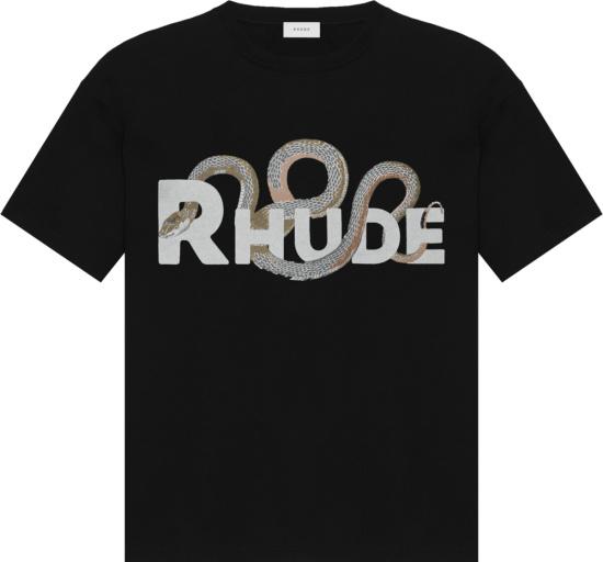 Rhude Snake And Logo Pirnt Black T Shirt