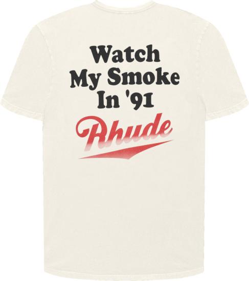 Rhude Watch My Smoke White T Shirt