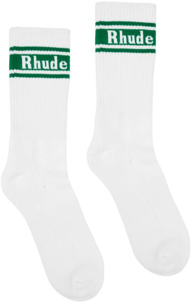 Rhude White And Green Logo Stripe Socks