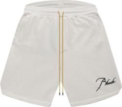Rhude White Script Logo Embroidered Shorts