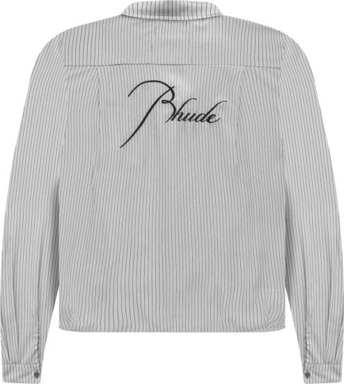 Rhude White Striped Logo Embroidered Shirt