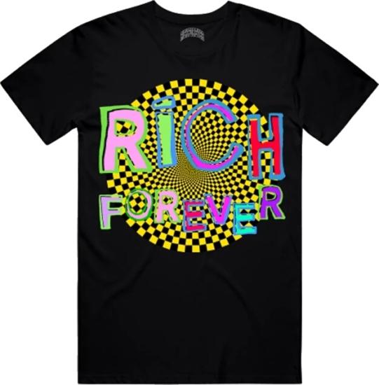 Rich Forever Multicolor 'hypnotize' Print Black T Shirt