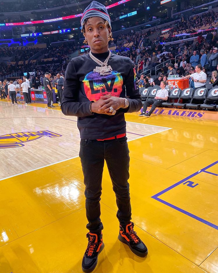 Rich The Kid At The La Lakers Game In Louis Vuitton