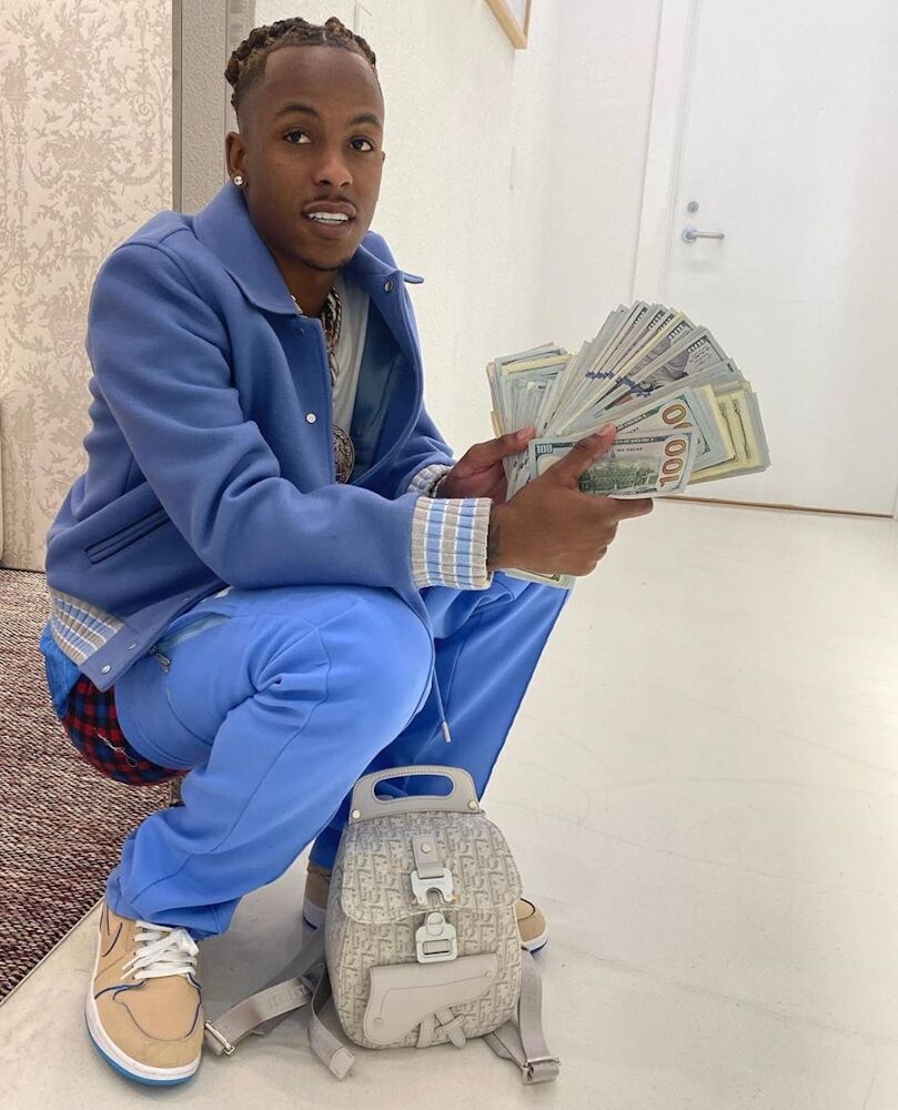 Rich The Kid Fans His Cash In Palm Angels Jacket Off White Track Pants And Khaki Nike Sneakers