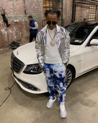 Rich The Kid Instagram Photo Wearing Tie Dye Jeans Pants And Metallic Jacket