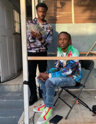Rich The Kid With Roddy Ricch Wearing Amiri Japanese Patch Jeans And Alexander Mcqueen Sneakers