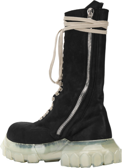 Rick Owens Black And Clear Knee High Boots
