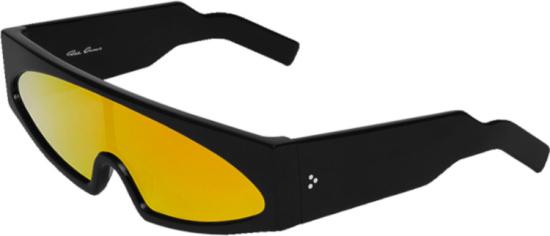 Rick Owens Black And Orange Mono Lens Sunglasses