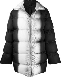 Rick Owens Black And Silver Puffer Coat