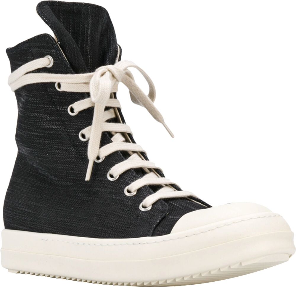 Rick Owens Black Denim High Top Sneakes