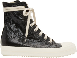 Rick Owens Black High Top Crinkled Sneakers