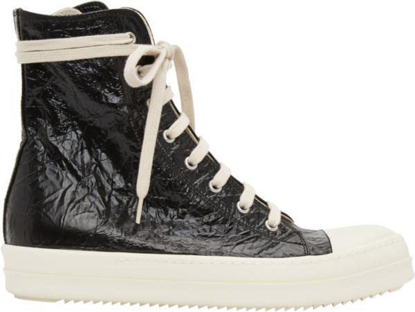 Rick Owens Black High Top Crinkled Sneakers