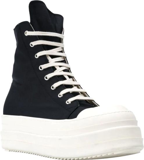 Rick Owens Black High Top Platform Sneakers