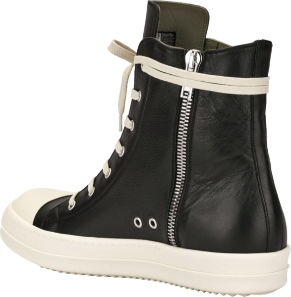 Rick Owens Black High Top Sneaker Boots