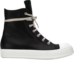 Rick Owens Black Leather High Tops
