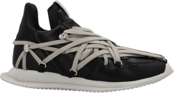 Rick Owens Black Leather Megalace Runner Sneakers