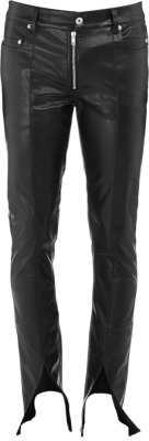 Rick Owens Black Leather Slit Cut Performa Pants
