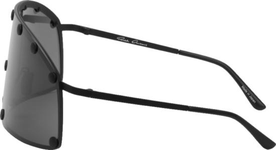 Rick Owens Black Shield Studded Lens Sunglasses