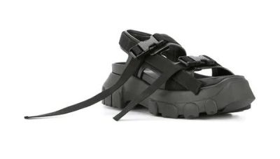 Rick Owens Black Strap Sandals Wore By Juice Wrld
