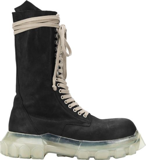 Rick Owens Black Transparent High Lace Up Boots