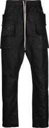 Rick Owens Black Waxed Ss21 Cargo Pants